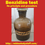 Benzidine test – Its principle, reagents and procedure