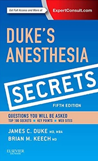 Duke's Anesthesia Secrets 5th Edition PDF Free Download