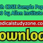 12th CBSE Sample Papers 2020 by Allen Institute PDF Free Download